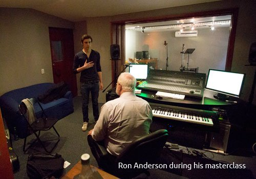 Ron Anderson in his studio with a student